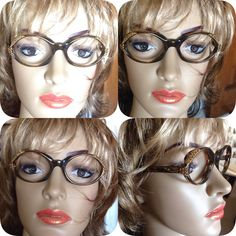 Vintage Eyewear 1950s AG Angela Made in France Brown Frames Topaz Rhinestone Details Retro Eye Glasses Beyond Cat Eye Prescription Glasses by MarveltyVintage on Etsy