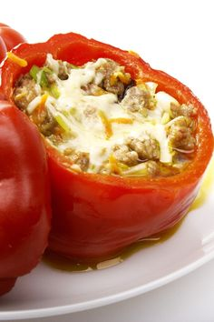 Ground Beef Stuffed Green Bell Peppers With Cheese. I made these with Near East long grain and wild rice, seasonings and all, on top of a bed of Yukon Gold mash potatoes with cheese and it was so good! -Sabrina