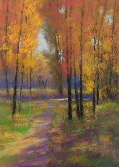 """©2012 Paula Ann Ford, Fall Colours,  Soft Pastels on Ampersand Pastelbord, 7""""x5"""""""