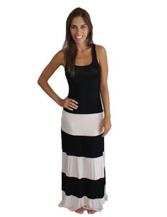 BLACK WHITE BISCOT STRIPED CELEBRITY COLOR BLOCK RACERBACK TANK MAXI DRESS S M L #WearItLikeADiva #Maxi #Casual