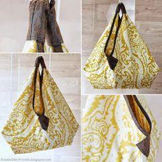 Tasche selber nähen Anleitung Pattern free tutorial Origami Bag