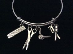 Hair Stylist Charm Bangle Scissors, Blow Dryer, Comb, Brush on a Silver Expandable Adjustable Bangle Bracelet Trendy Stacking Handmade Gift Trendy Jewelry, Cute Jewelry, Jewelry Accessories, Fashion Jewelry, Bangles Making, Hair Humor, Or Antique, Bangle Bracelets, Silver