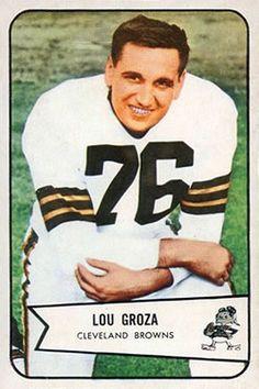 1954 Bowman #52 Lou Groza Front Football Cards, Football Team, Baseball Cards, Cleveland Browns History, Downtown Cleveland, Browns Fans, Football Conference, Vintage Football, Trading Card Database