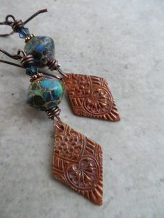 Summertime Kites ... Lampwork and Copper by juliethelen on Etsy, $54.00