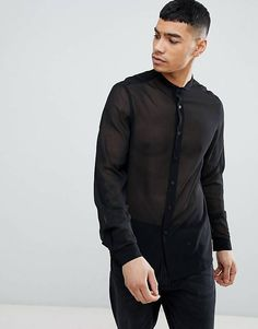 Browse online for the newest ASOS DESIGN regular fit sheer shirt with grandad collar in black styles. Shop easier with ASOS' multiple payments and return options (Ts&Cs apply). Mens Shirts Sale, Shirt Sale, Asos Men, Sheer Shirt, Designer Dresses, Latest Trends, Bomber Jacket, Shirt Dress, Stylish