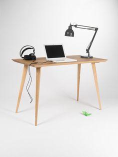 Bureau, bureau, bureau informatique, bureau moderne, bureau industriel, milieu du siècle moderne, Vintage, en chêne massif, table, table en chêne, bureau, en bois