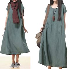 Loose Fitting Linen Long Shirt Blouse for Women Short by deboy2000, $69.00