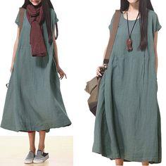 Loose Fitting Linen Long Shirt Blouse for Women Short Sleeved Women Clothing - Women Dress- Green Blue