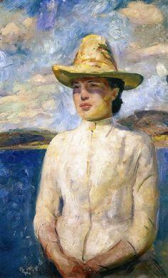 Edvard Munch (1863-1944), Inger in the Sunshine,1888.  oil on cardboard, 73 x 46 cm
