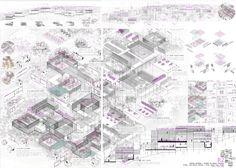 Usue Beraza: PROYECTO FIN DE CARRERA _ GRANJA ESCUELA EN LAS RUINAS DE OREJA, TOLEDO Types Of Architecture, Architecture Panel, Architecture Graphics, Space Architecture, Draw Diagram, Urban Design Plan, Funny Drawings, Library Design, Layout