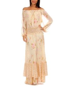 Another great find on #zulily! Cream & Pink Floral Off-Shoulder Maxi Dress #zulilyfinds