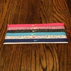 6 Nike headbands Set of 6 Nike headbands with no-slip rubber. All except hot pink one have never been used. They don't seem to stay on my head! Nike Accessories Hair Accessories