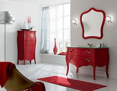 Bathroom, The Enjoying Design Also Bathroom Also Red Furniture Also White Wall Also Luxury Bathroo Vanity Also Beautiful Sink Also Faucet: The New Style Innovation Of The Luxury Bathroom Vanities The Best Solution To Design The Room Really Beautiful Luxury Bathroom Vanities, Bathroom Vanity Designs, Bathroom Red, Bathrooms, Modern Bathroom, Master Bathroom, Bathroom Ideas, Red Painted Furniture, Antique Furniture