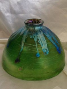 $187 This is a beautiful Iridescent green dome shade with silver lava design & gold threading design, One of a Kind art piece created by Art glass Artist Saul Alcaraz in 1999. A collectors Item!