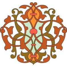 Роспись красных, зеленый и оранжевый лист шаблон арабески u26704494 - настенная гравюр, стены искусство, плакаты, изобразительное искусство печать, фотобумага печать - u26704494.eps