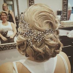 Custom designed crystal vine headpiece woven into a fabulous up do on our beautiful bride Annmarie.