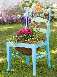 Fioriere fai da te - Una sedia come fioriera