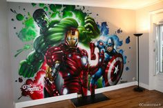 Wall Mural - He loves The superheroes!