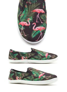 Flamingo Slip On Flats Sneaker Shoes Womens Black.  Nice shoes :)