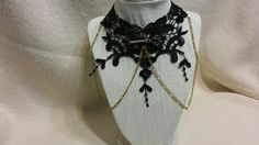 Black Flower Lace Collar/Choker with Gold Key Pendant - CL1000124 by ShyCollections on Etsy