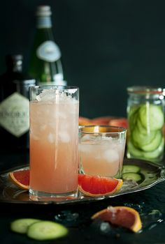 A delicious Gin Fizz made with a cucumber-infused Gin, Fresh Grapefruit and a Black Pepper Sugar Syrup. Craft Cocktails, Party Drinks, Cocktail Drinks, Fun Drinks, Cocktail Recipes, Alcoholic Drinks, Beverages, Drink Recipes, Cocktail List