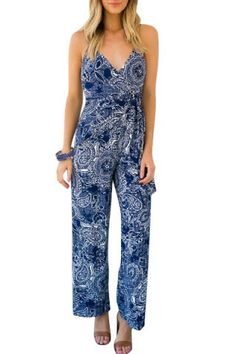 Casual Low-Cut Spaghetti Strap Abstract Printed Jumpsuit For Women Jumpsuits & Rompers   RoseGal.com Mobile