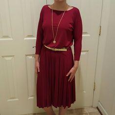 ALFANI dress Burgandy dress with gold belt perfect for fall. Only worn once! Alfani Dresses
