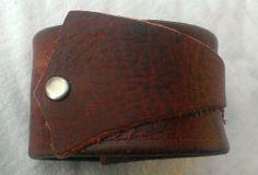 Brown Leather Cuff Repurposed Belt OOAK by kimforrerdesigns, $25.00
