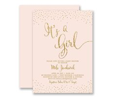 pink gold baby shower invitations its a girl blush pink gold glitter look confetti sprinkles - Customized Party Invitations