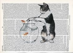 Another Illustration of Kitten plays with fish  Print on Upcycle Vintage Page Book Print Art Print Dictionary Print Collage Print