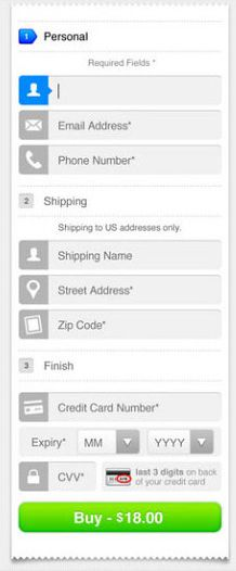 Mobile transactional checkout UI. Like.