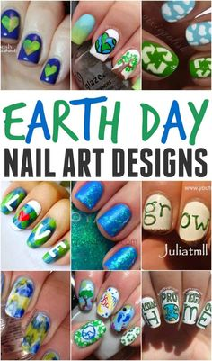 Earth Day Nail Art Designs Looking for a fun and simple way to celebrate our beautiful Earth. How about try out one of these creative earth day nails. Nail Art For Kids, Easy Nail Art, Cool Nail Art, Diy Nails, Cute Nails, Teen Nails, Cute Nail Art Designs, Art Projects For Teens, Nail Polish Trends