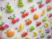Kawaii Cute Colorful Fruit Puffy Stickers Sheet Pool Cool Kawaii Shop Japan