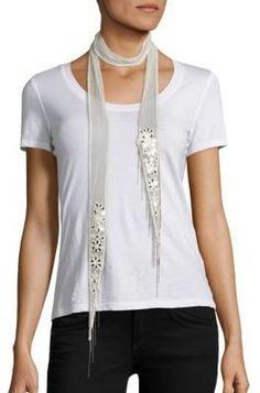Chan Luu Skinny Floral-Embroidered Chiffon Scarf