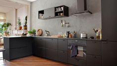 New Kitchen Ikea Kungsbacka Black Ideas Black Ikea Kitchen, New Kitchen Diy, Patio Kitchen, Outdoor Kitchen Design, Black Kitchens, Kitchen Paint, Kitchen Interior, Home Kitchens, Kitchen Decor