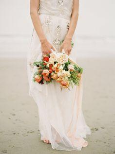 peach rose wedding bouquet - photo by Sawyer Baird