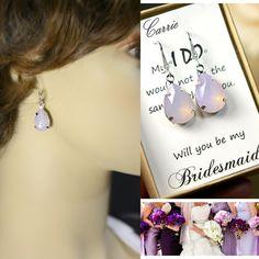 Purple Bridesmaid jewelry purple lavender pink by thefabbridal3