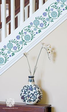 Flower Border Stencil by Royal Design Studio Wall Stencils Leaf Stencil, Stencil Painting, Flower Stencils, Stenciled Stairs, Indian Wall Decor, Balustrades, Indian Flowers, Wall Borders, Stencil Designs