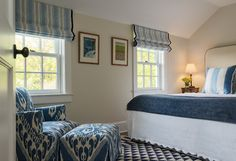 Roman shades outside mount.   Cottage - traditional - bedroom - new york - Crisp Architects