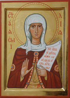 Commission contemporary christian Icon of saint Emilia (St. Amelia, St. Emely, Saint Emily)