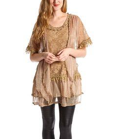 Another great find on #zulily! Brown Floral Linen-Blend Top - Women #zulilyfinds