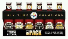 Pittsburgh-based Heinz just announced the availability of a Steelers Super Bowl Six-Pack to commemorate the team's record-setting sixth Super Bowl win. Nice way for an unsexy product (ketchup)… Here We Go Steelers, Steelers Football, Steelers Stuff, Pitt Steelers, Football Food, American Conference, Steelers Super Bowls, Pitt Panthers, Pittsburgh Sports
