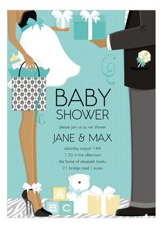 African American Couple Baby Shower Invitation  #AfricanAmerican #BabyShower #Invitations