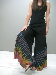 Tie dyed wide legs yoga pant Welcome251.2 by thaitee on Etsy