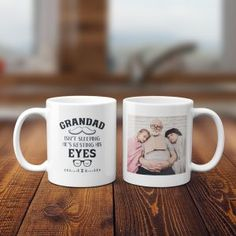 """Next time gramps takes a secret nap, don't make him admit his naughty deed! Instead, let coffee or tea in the """"Grandad's Not Sleeping, He's Resting His Eyes"""" custom photo mug wake him up! This ceramic beauty is the perfect surface for that funny photo of you and grandpa! Get the """"Grandad's Not Sleeping, He's Resting His Eyes"""" custom photo mug as a birthday, Father's Day, or Christmas gift! Personalized Gifts For Dad, Custom Canvas Prints, Custom Photo Mugs, Dad Birthday, Rocking Chair, His Eyes, Funny Photos, Fathers Day Gifts, Christmas Gifts"""