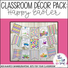 "Do you have a space on your classroom wall or door where you need that perfect piece of seasonal or holiday decor? Look no further! This Easter Decor Banner Pack has got you covered. Its fun and fresh design will bring the perfect ""Happy Easter"" touch to your"