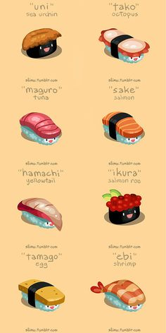 Some very kawaii sushi! Japanese Phrases, Japanese Words, Japanese Food Names, Cute Japanese Stuff, Japanese Food Sushi, Japanese Quotes, Japanese Things, Japanese Kanji, Sushi Recipes
