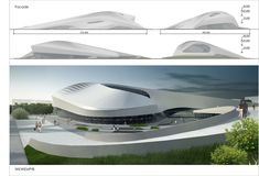 The idea of the project is to liven up urban area by introduction of an alive - Modern Futuristic Architecture, Facade Architecture, Shopping Mall Architecture, Shoping Mall, Future Buildings, Mall Design, Bungalow House Design, Famous Architects, Conceptual Design