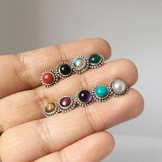 Moonstone Stud Earrings Boho Stud Earrings by EleyJewelryxDesigns