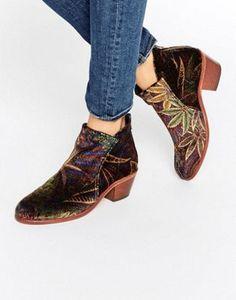 Hudson London Apisi Liberty Velvet Mid Ankle Boots